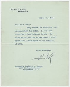 Franklin Delano Roosevelt Thanks His Uncle for a Piece on Thomas Paine  $7,500