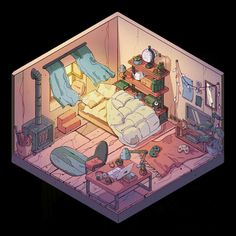 Isometric Drawing, Isometric Design, Kawaii Drawings, Cute Drawings, Art And Illustration, Rpg Map, Bedroom Drawing, House Design Drawing, Cartoon Kunst