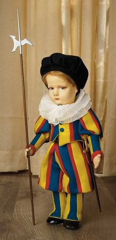 Sanctuary: A Marquis Cataloged Auction of Antique Dolls - March 19, 2016: Italian Felt Doll Depicting Swiss Guard by Lenci