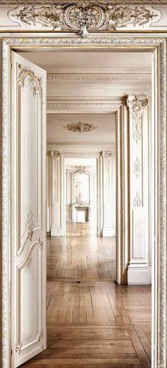 Loving these French style wall panelings,mouldings& ceilings … & the gorgeous wood floorings. xx debra 2koziel,2arkpad,3 wendall, 4 frenchcountryhome5 dustjacket