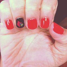 Louisville Cardinal manicure!