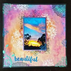 Kaisercrafts Bombay Sunset paper and the Weave die-cut. Two of my new favorite things! Scrapbook Layouts, Scrapbooking, Weaving, Sunset, My Favorite Things, Paper, Crafts, Image, Manualidades