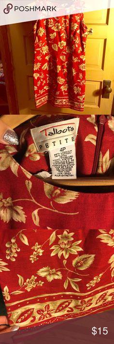 Talbot's linen dress Talbot's linen dress. Red with khaki and olive floral design. Zipper back. Fitted. Talbots Dresses Midi