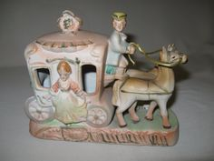 Colonial Victorian  Horse Drawn Carriage Porcelain Bisque Figurine 1940-1950