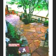 Stone patio, great color for my back yard. Clor would look good with brick on house.