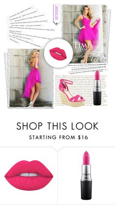"""robe de cocktail-27"" by sophie-robelle on Polyvore featuring Lime Crime, MAC Cosmetics, BCBGeneration and Katie"