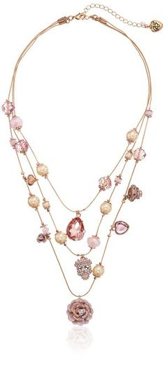 "Betsey Johnson ""Pinktina"" Patina Flower and Skull Illusion Necklace"