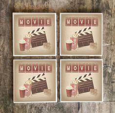 Drink Coasters, Vintage Movie Cinema Room Handmade Ceramic Tile Coasters, Popcorn, Soda, Movie Tickets, Clapper Board, Fun Cinema Home Decor, $5.00 #cinema #coasters #vintage #movienight #movies #movieroom