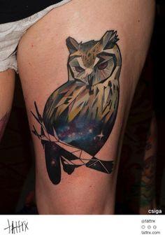 Csiga Mátyás Halász Tattoo - Space Owl tattrx.com/artists/csiga