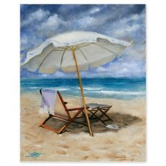 Beach Imbrella and Sandles 18x24