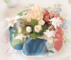 Pincushion Handmade Pin Keeper FLORAL Decorator by CharlotteStyle, $20.00