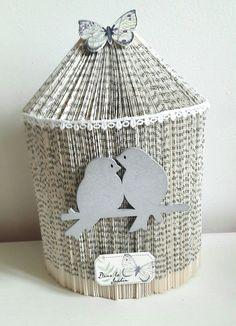 Cage oiseaux sculpture livre plié Saint Valentin