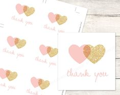 pink gold hearts favor tags printable DIY wedding bridal shower favour tags pink gold glitter wreath thank you card - INSTANT DOWNLOAD