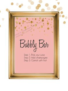 Set of 5 printable blush, black and gold champagne bridal shower signs by glassslipperdesigns on Etsy