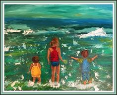 Story Behind the Painting: A dear friend of mine asked me to paint her babies at the beach.  She gave the painting to her husband for Christmas.  I cannot tell you the hours I spent studying photos…