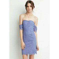Off The Shoulder Lace Dress Prepare to make a grand entrance by way of this delicate and romantic dress. It's stunning eyelash leave fabrication combined with its off-the-shoulder design makes this piece an all around beauty. Gorgeous cornflower blue color. Worn once. Forever 21 Dresses
