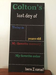 This customized chalkboard sign can be reused each year for last day of school pictures. Add your childs grade, date, age, favorite memory and color - update each as the information changes through the years. The writing is in permanent paint marker and it is recommended you add your childs information in standard chalk (not chalk marker), as it is easier to remove from this porous surface.  This sign measures 12x24 inches and is made of 1/8 inch board, so it is light weight and easy for…