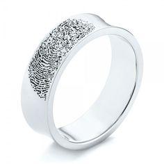 Custom Engraved Black Antiqued Fingerprint Men's Band | Joseph Jewelry | Bellevue | Seattle | Online | Design Your Own Wedding Ring