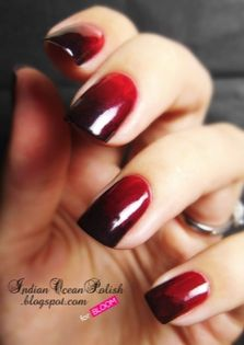Blood red vampire nails for Halloween! Tutorial by Indian Ocean Polish for Bloom.com.