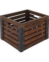 Wooden Milk Crate, Brown