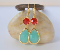 Large Turquoise Teardrop and Red Circle Dangle Earrings. Jewel Fashion Earrings. Red Turquoise Earrings. Free Shipping. on Etsy, $36.00