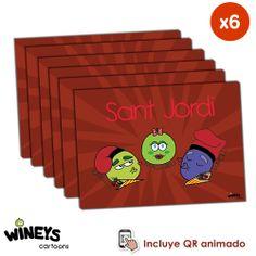 Postal San Jordi Wineys un rgalo original para acompañar, vinos, rosas o libros.