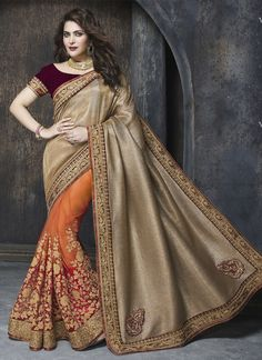 http://www.sareesaga.com/index.php?route=product/product&product_id=19386 Style	:	Designer Saree	 Shipping Time	:	10 to 12 Days Occasion	:	Party Festival	 Fbric	:	Net Colour	:	Orange Beige	 Work	:	Embroidered Patch Border Work For Inquiry Or Any Query Related To Product,  Contact :- +91 9825192886