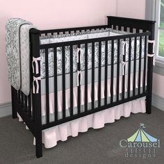 Crib bedding in White and Pink Polka Dot, Gray Traditions Damask, Solid Silver Gray, Solid Pink. Created using the Nursery Designer® by Carousel Designs where you mix and match from hundreds of fabrics to create your own unique baby bedding. #carouseldesigns