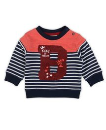 Stoere trui van Prenatal voor jongens met combinatie streepdessin en meleesto...