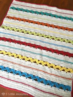 20 Terrific FREE Crochet Patterns for Practicing Tall Stitches: Rick Rack Stripe Baby Blanket Free Crochet Pattern