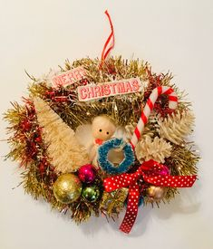 Vintage Mid Century Angels on Candy Cane Ornament Whimsical Handmade Recycled Gift Kitsch Wood Retro Christmas Decor