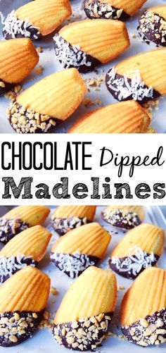 Chocolate Dipped Madelines- Super easy and great for the holidays, give as a gift or serve at parties