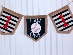 Baseball banner, first birthday, red, navy, baseball party, photo prop, I am one, custom banner, burlap banner, custom banner, personalize by ThePartyOrchard on Etsy