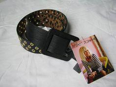 BETSEY JOHNSON Black/Gold Faux Leather Square Buckle Belt SZ S/M NWT #BetseyJohnson