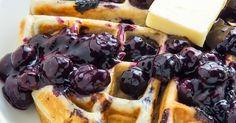 yesfoodchannel: Greek Yogurt Blueberry Waffles with Fresh Blueberry Sauce
