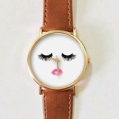 Eyelashes and Lips Watch, Vintage Style Leather Watch, Women... (610 PHP) via Polyvore featuring men's fashion, men's jewelry, men's watches, watches, vintage style mens watches, mens watches jewelry, mens watches, mens pink watches and mens leather watches