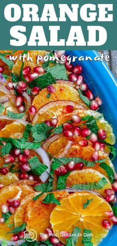 You'll love this simple and bright Mediterranean orange salad. Sweet orange slices with pomegranate arils, fresh mint, and a honey lime dressing. Recipe comes with some important tips, go check it out! Vegetarian Recipes Easy, Clean Eating Recipes, Healthy Dinner Recipes, Cooking Recipes, Simple Salad Recipes, Easy Mediterranean Recipes, Mediterranean Dishes, Pomegranate Salad, Pomegranate Recipes Dinner
