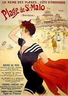 La reine des plages - Côte d'Emeraude. Plage de St.-Malo (Normandie, France)  ca. 1900 - vintage travel beach poster france Art Nouveau #essenzadiriviera - www.varaldocosmetica.it/en