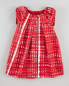 Satin Large-Check Dress by Baby Dior at Neiman Marcus.  Can't believe I'm pinning Baby Dior, but it's pretty darn gorgeous.
