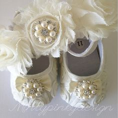 Off White baby crib shoes, christening, baptism  shoes with headband, toddler girl shoes, baby shoes for girls on Etsy, $25.63 CAD
