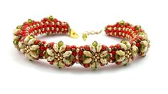 "Beading4perfectionists: ""Proodles"" bracelet. The PRAW bracelet decorated"