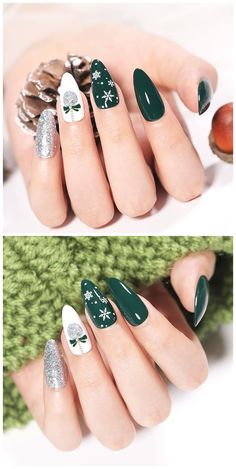 Stylish Nails, Trendy Nails, Cute Nails, Christmas Gel Nails, Holiday Nails, Nail Art Noel, Paris Nails, Image Nails, Nagellack Design