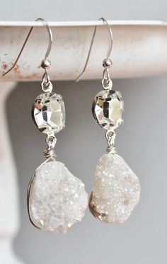 White Druzy & Rhinestone Earrings $40.00, via Etsy.