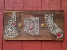 Triple State String Art - Can Be Customized - Couples Gift - Wall Art - Home Decor - Rustic Wooden Sign - Boyfriend - Girlfriend - Home