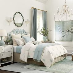 Buy the bed decor you need for that ultimate designer look. Get Leela Embroidered Duvet Cover at Ballard Designs for exactly what you want! Bedroom Decor For Small Rooms, Bedroom Colors, Home Decor Bedroom, Bedroom Ideas, Master Bedroom Design, Dream Bedroom, Estilo Shabby Chic, Minimalist Bedroom, My New Room