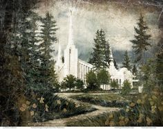 Temple Print featuring the painting Out Of The Wilderness Portland Oregon Temple by Marcia Johnson