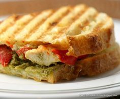 Big, Bold, Beautiful Food: Grilled Chicken Panini with Roasted Red Peppers, Pesto and Garlic Herb Cheese