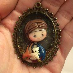 Dama con ermellino ^.^ 💙 #kawaii #handmade #chibi #polymerclay #fimo #icapriccidicolombina #leonardodavinci #renaissance #damaconlermellino #art #historyofart