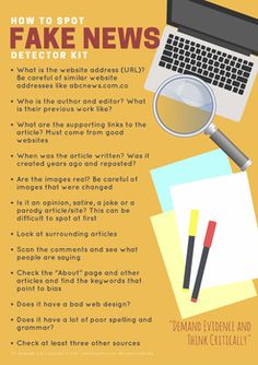 How to Spot Fake News Detector Kit Poster 2018 School Library Lessons, Middle School Libraries, Library Skills, Library Ideas, Library Posters, Computer Projects, Research Writing, Information Literacy, Inquiry Based Learning
