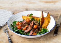 Steak Tagliata with Roasted Sweet Potato Wedges & Watercress Salad